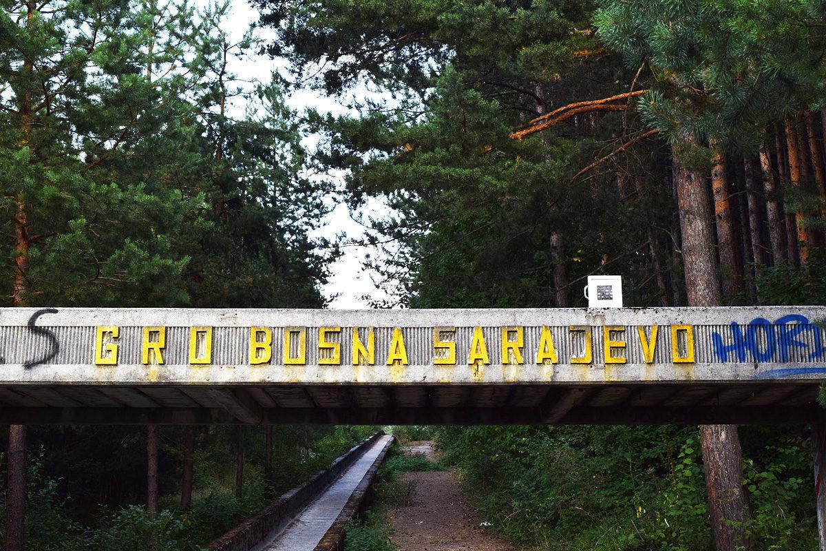 quadro abbandonato all'arrivo della pista di bob a Sarajevo