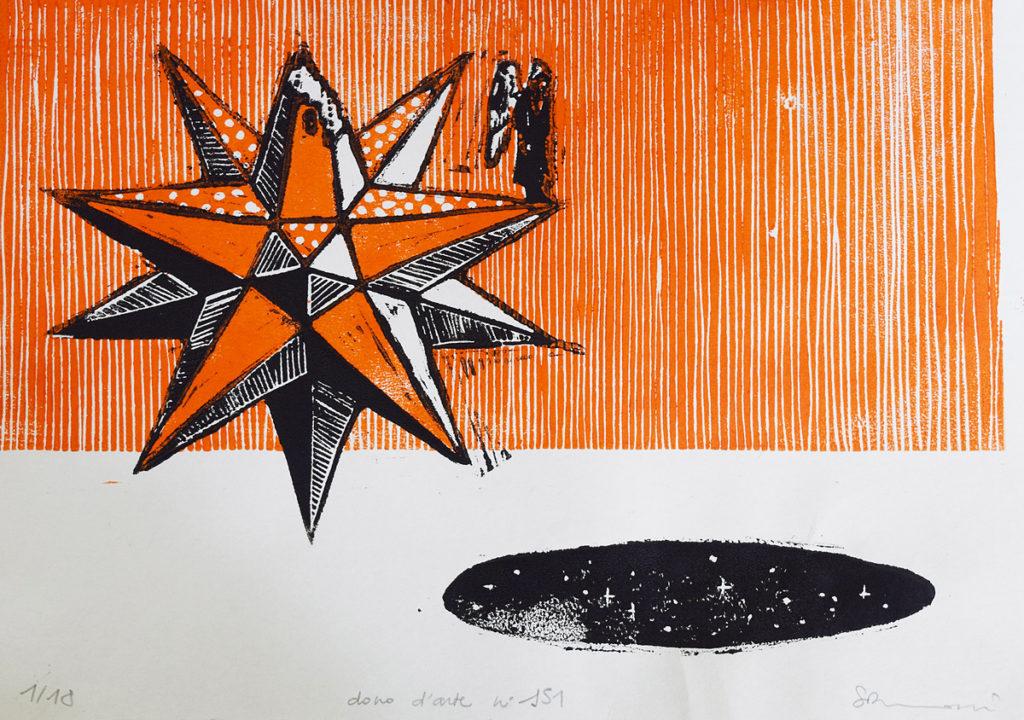 stampa d'arte con la tecnica del linoleum dono d'arte n. 151