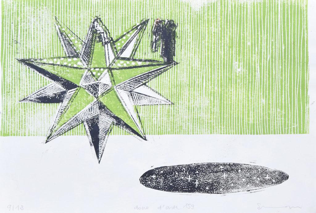 linoleografia in verde e nero