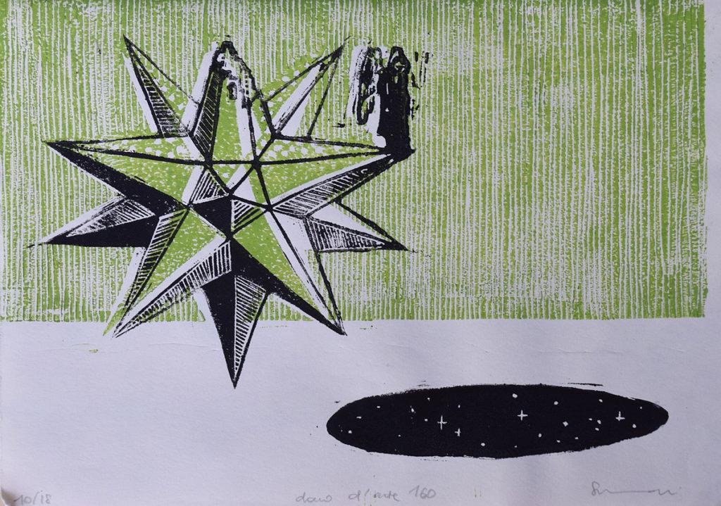 linoleografia nera e verde fuori squadra