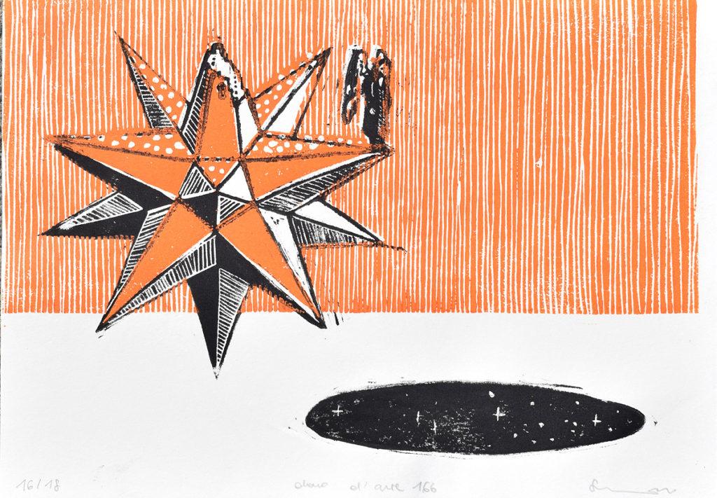 linoleum intaglio in rosso e nero con cielo stellato